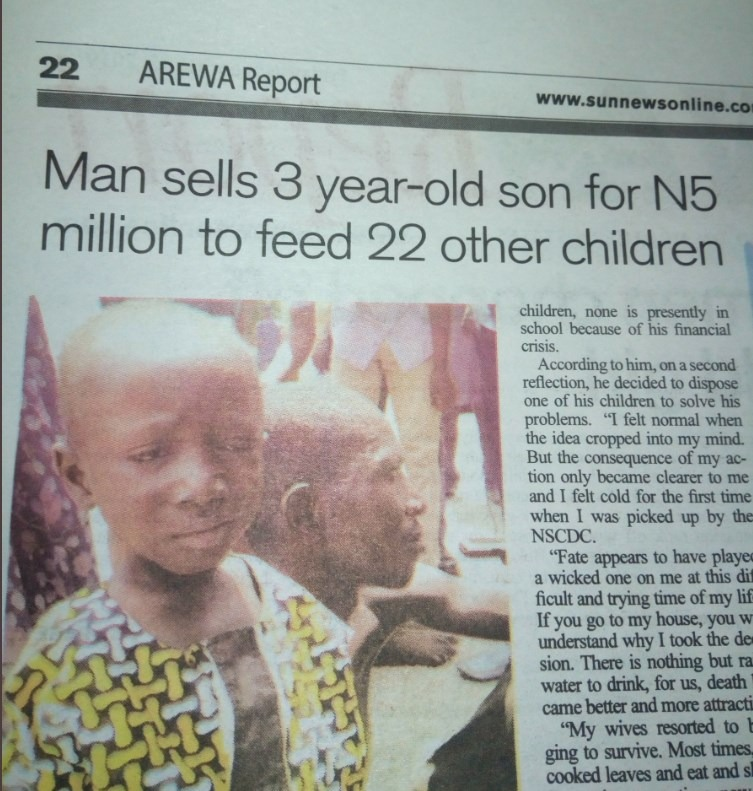 3-year-old sold to feed 22 other children