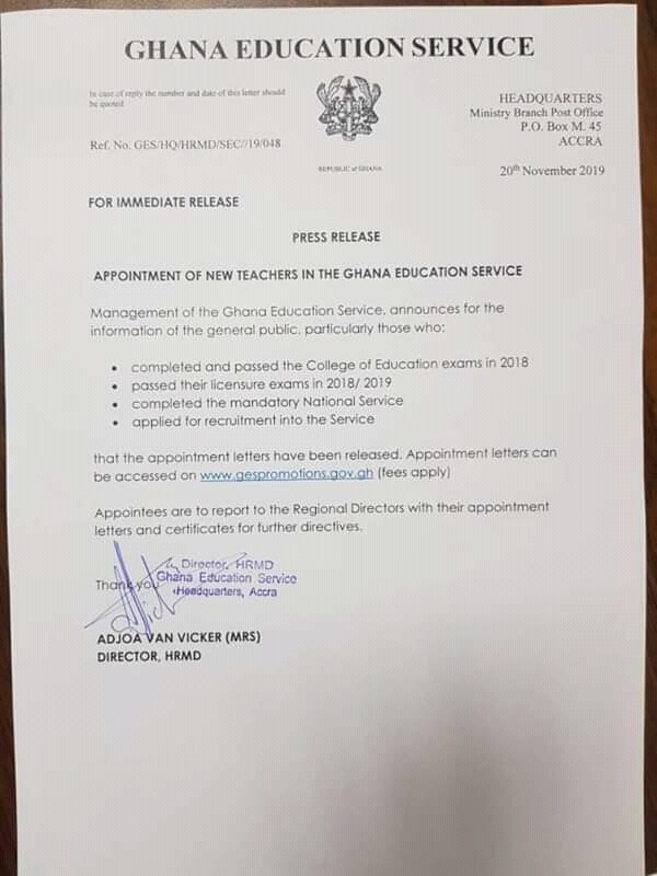 GES Released Appointment Letters for 2018 New Teachers Online
