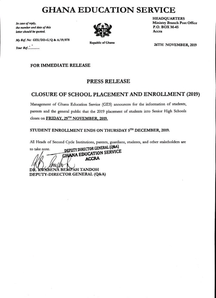 GES Closing Date for 2019 School Placement and Enrollment into SHS