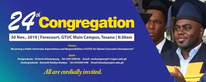 GTUC 24th Congregation for Graduands Schedule