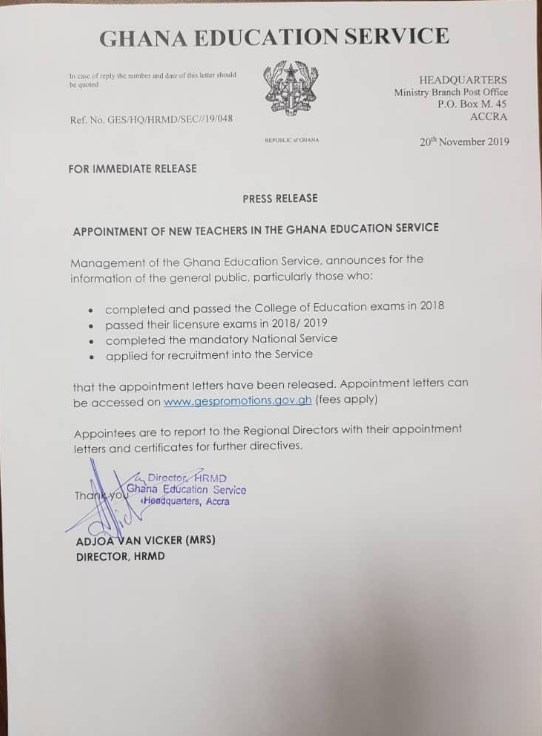 GES Released Appointment Letters and Posting of New Teachers