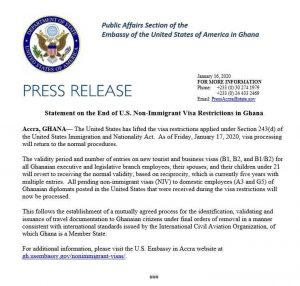 US lifts Visa restrictions imposed on Ghana