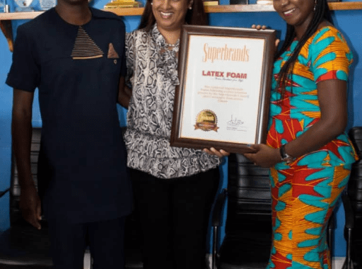 Mr Kwabena Agykeum, CIM President (L), Ms Fatima Alimohammed, CEO of SuperBrands Ghana (M) and Ms Gifty Ekeocha Appiah of Latex Foam.