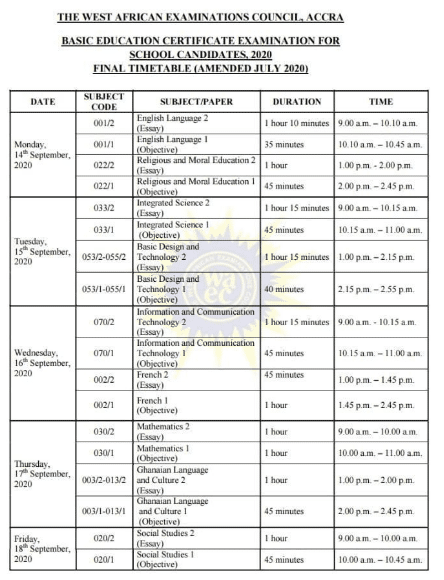 BECE 2020 FINAL EXAMS TIMETABLE OUT