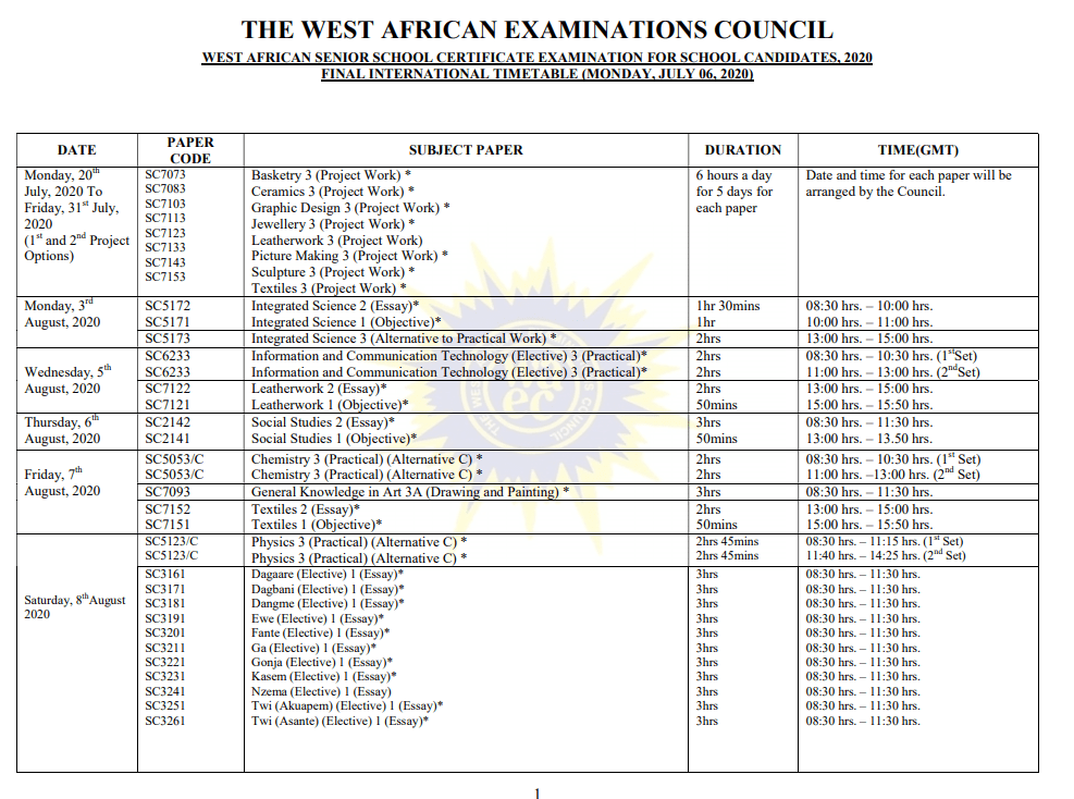 WASSCE TIME TABLE