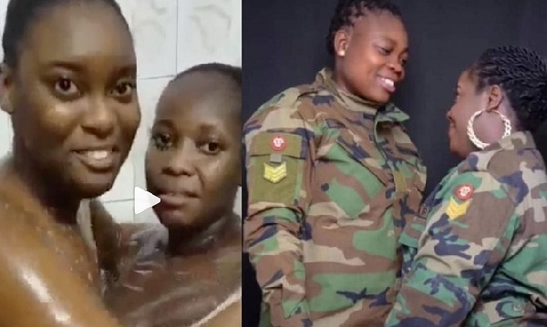 A romantic video of two lesbians (one a soldier and the other a civilian) who recently got 'married' has hit the internet.
