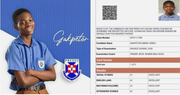 Gakpetor scores 8As in WASSCE 2020