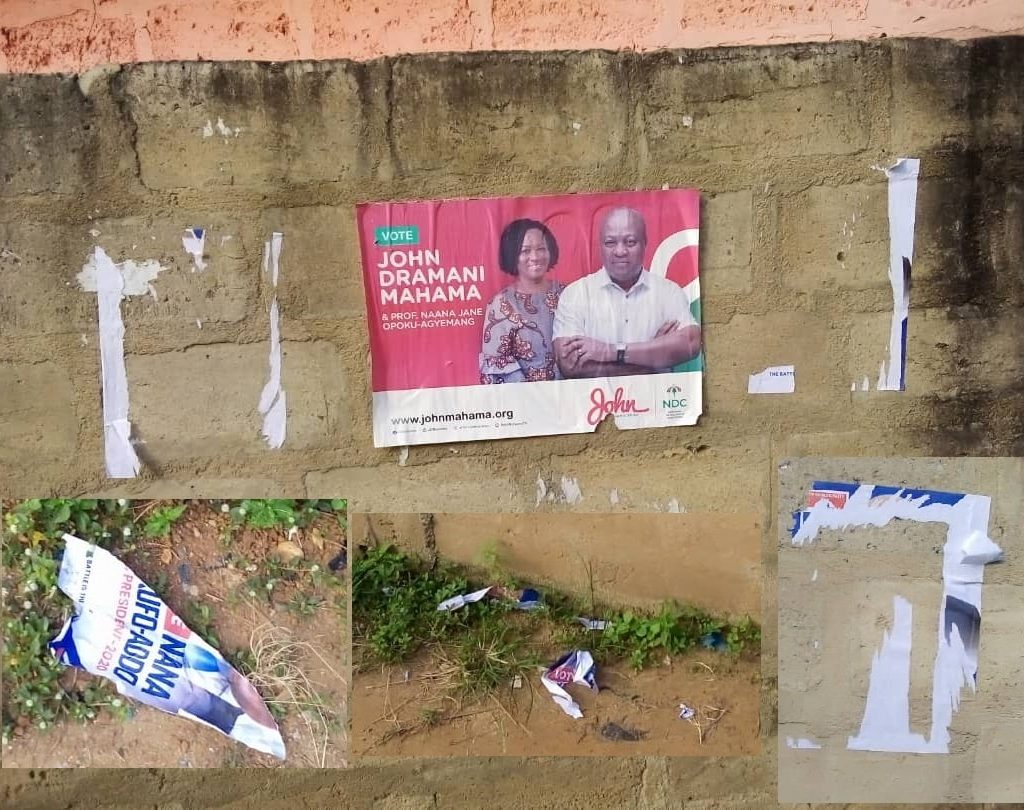 This Nonsense Must Stop NDC faithfuls allegedly destroy NPP posters in Ayawaso West Wuogon